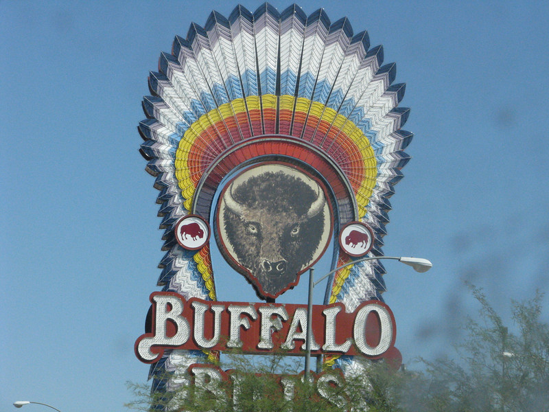 Buffalo Bill's sign can be seen a long ways away.