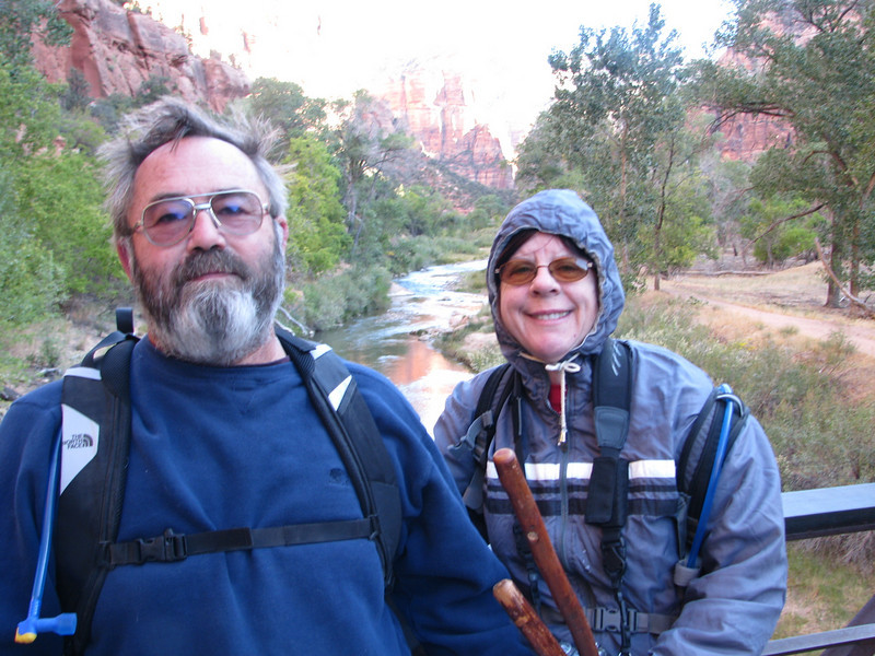 Julie and I on the bridge deciding which way to since Emerald Pools is a looping trail.