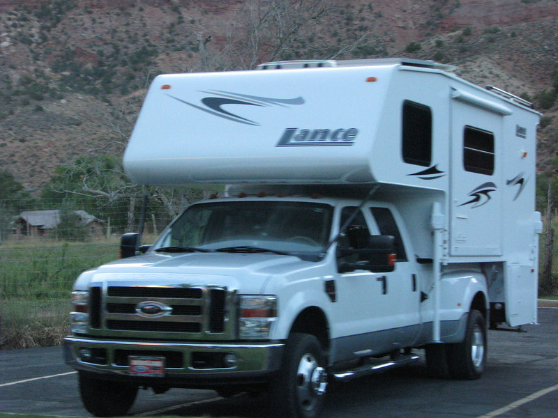 Spotted a Lance camper being hauled on a Ford truck.