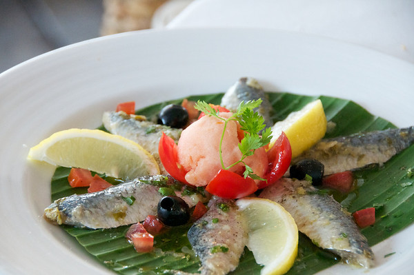 Mikail's sardines with delicious tomato sorbet