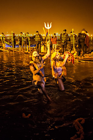 he sadhu leaders taking a dip and performing their ritual, a trident, a trumpet and then it happen