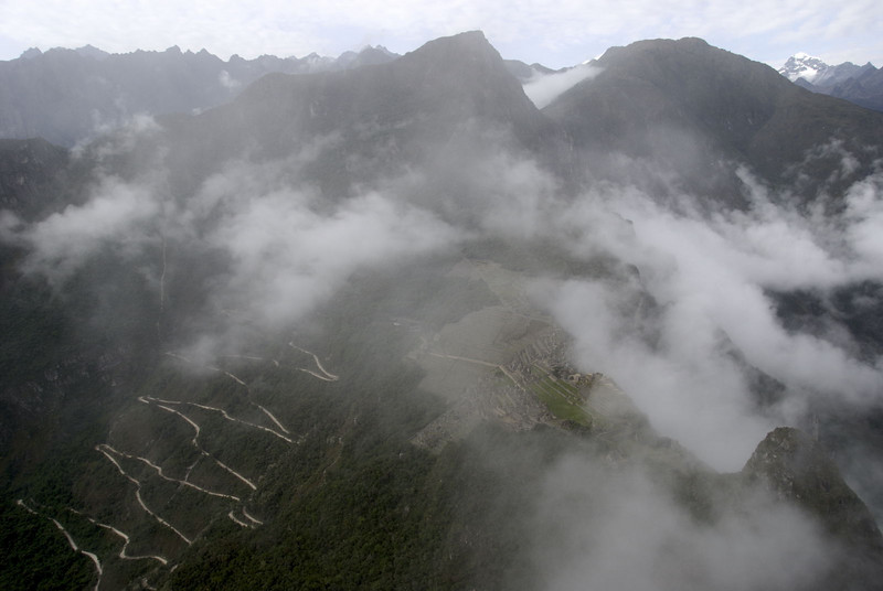 Machu Picchu, the view from the top of Huayna Picchu looking down at the city