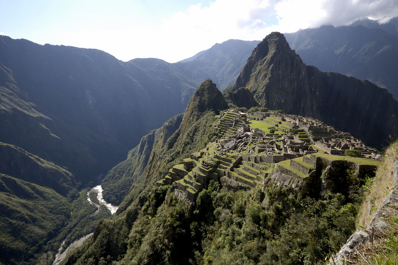 Machu Picchu, looking down the Western side and Rio Urubamba