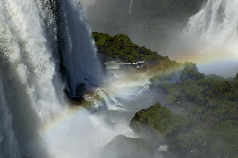 The Iguazu Falls at the main Brazilian site. Again, spray dances with sunlight to form rainbows