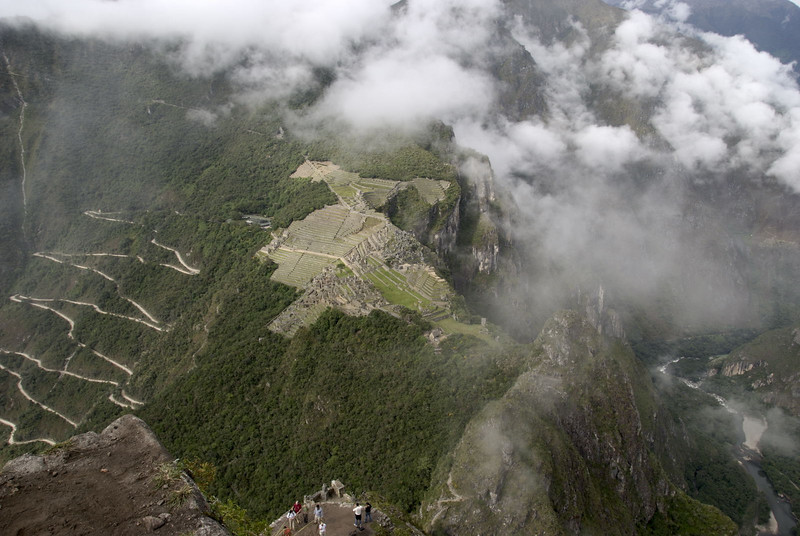 Machu Picchu, the view from the top of Huayna Picchu looking down at the city and the Rio Urubamba to the right