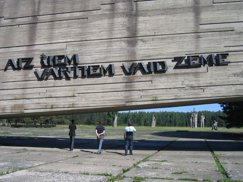 """""""Behind this gate, the earth groans.""""<br /> Salaspils concentration camp, where 45,000 Jews from Riga, and 55,000 others from Nazi occupied countries were brought to their deaths."""