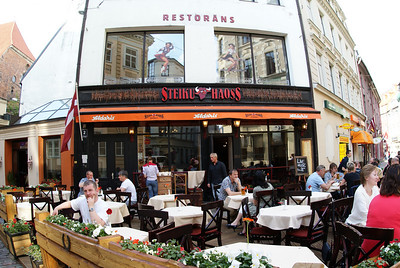 I know three words now in Latvian: Restaurant, Steak, and House.
