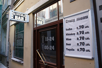 Crazy menu!  Beers for 0.70 LVLs.  That's about a buck twenty-five.  Shweeet!
