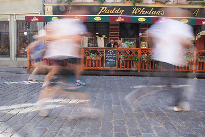 The marathon route went right past small cafes and restaurant.