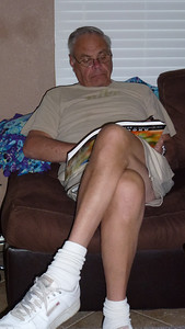 Dad working on his Sudoku book.
