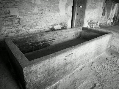 Laycock House this tub was carved from a solid lump of limestone