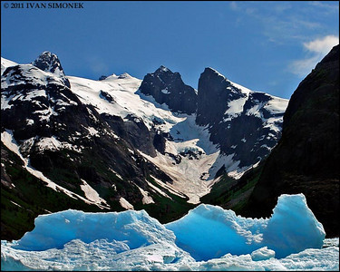 """ICEBERG & MOUNTAINS"",LeConte Bay,Alaska,USA."