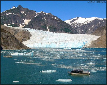 """GLACIER IN SIGHT"", Alaska`s Waters Chutine Warrior in front of LeConte glacier, Alaska, USA."