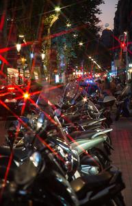 motorcycles along La Ramblas