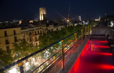 view of La Ramblas, the center of night life in Barcelona.