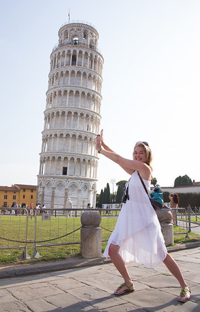Leanne doing her best to hold up the leaning tower