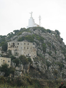 The enormous statue of Christ on the roof of the Catholic retreat of Deir Luwaizeh overlooking Dog River.