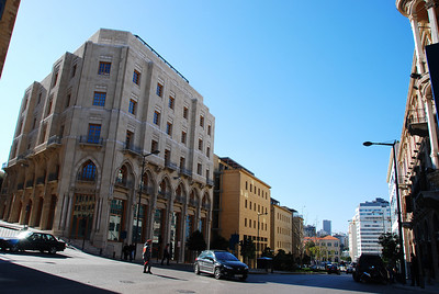 The downtown area of Beirut, sadly deserted.