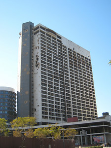 The Holiday Inn, a looming reminder of the 15 year long civil war.
