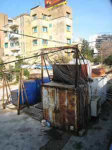 A generator stretched to breaking point.  Power cuts happen frequently in Beirut.
