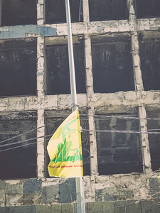 Hezbollah flag at the Green Line in Beirut