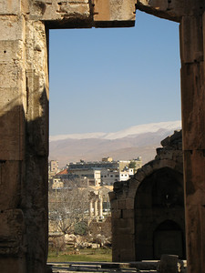 Baalbeck, columns with the snow covered mountains in the background.