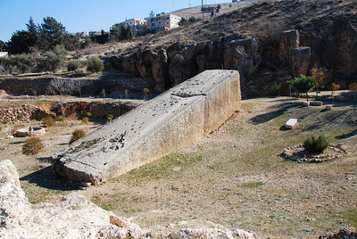 A hewn rock that was going to be used in the Temple of Jupiter.  It weighs approx 2,000 tons.
