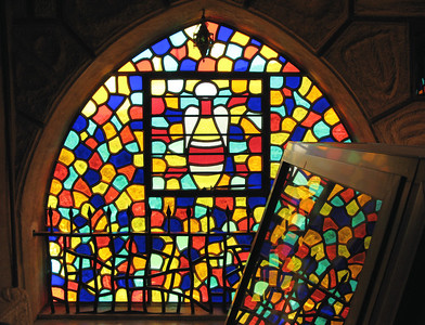 Stained glass window at the 'Musa' Citadel, Dair El Amar, Lebanon.