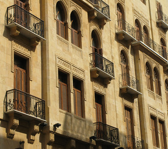 Building elevation at the renovated Solidere district, Beirut.