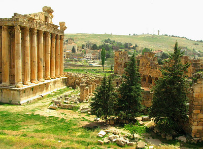 The Temple of Bacchus and surrounding Roman ruins at Baalbek, Lebanon
