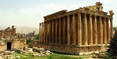 The Temple of Bacchus, Roman ruins at Baalbek, Lebanon.
