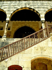 Staircase leading up to 1st level arcade at Beiteddine Palace, Jebal Lebnan, Lebanon