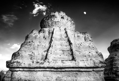 Moonrise over Stepped Stupa