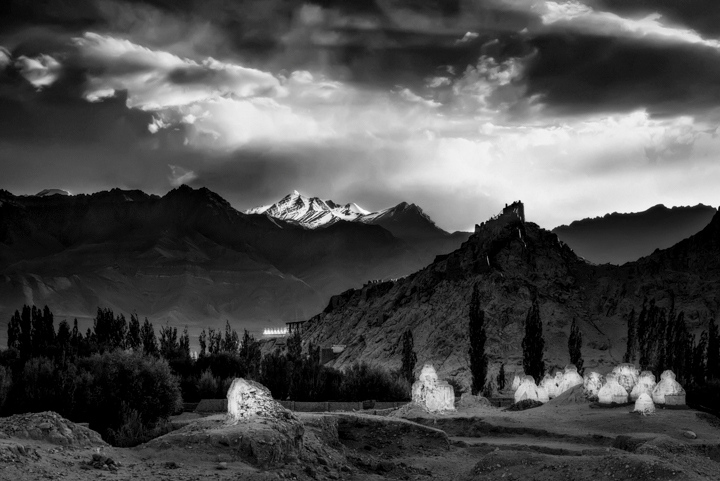 Stok Kangri Above Shey Monastery and Stupa Field