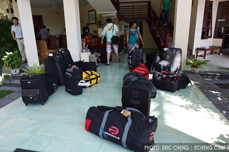 Scubacam's Lembeh Night Safari guests pack up to leave the resort