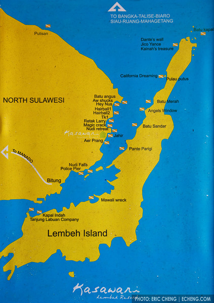 Kasawari Lembeh Resort's dive site map