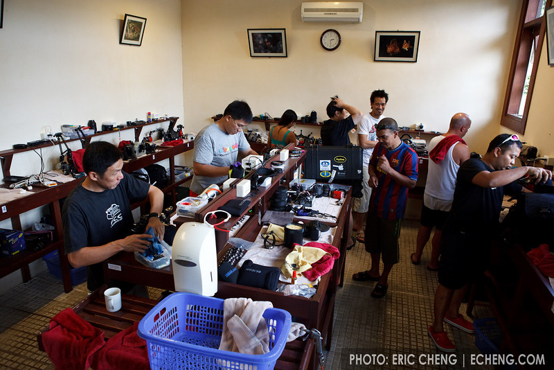 Guests pack up camera gear in the Kasawari camera room