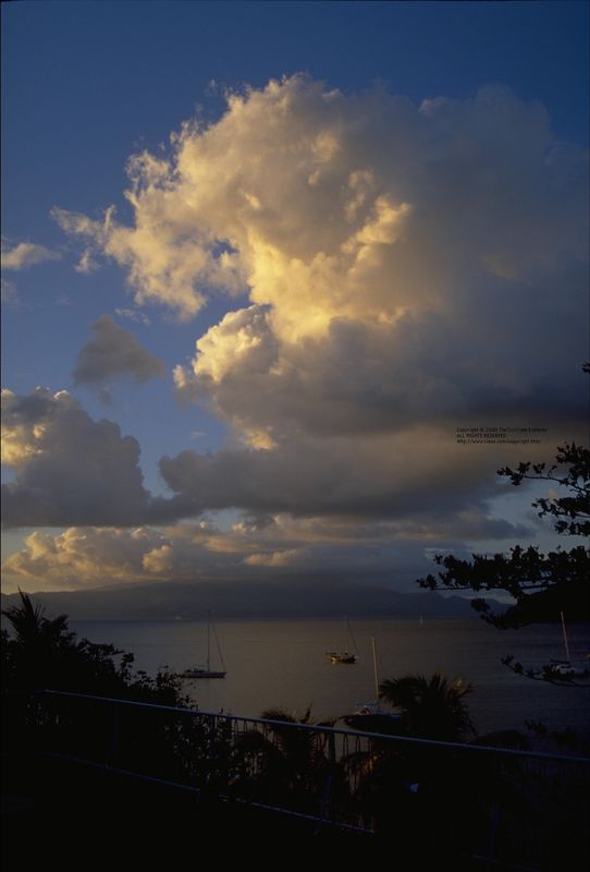 Sunset and clouds over La Soufriere, Guadeloupe