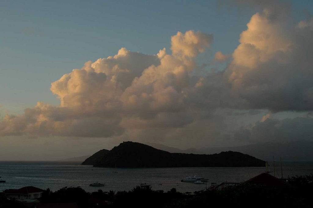 Our first day on Les Saintes comes to an end -- the view from our Auberge.