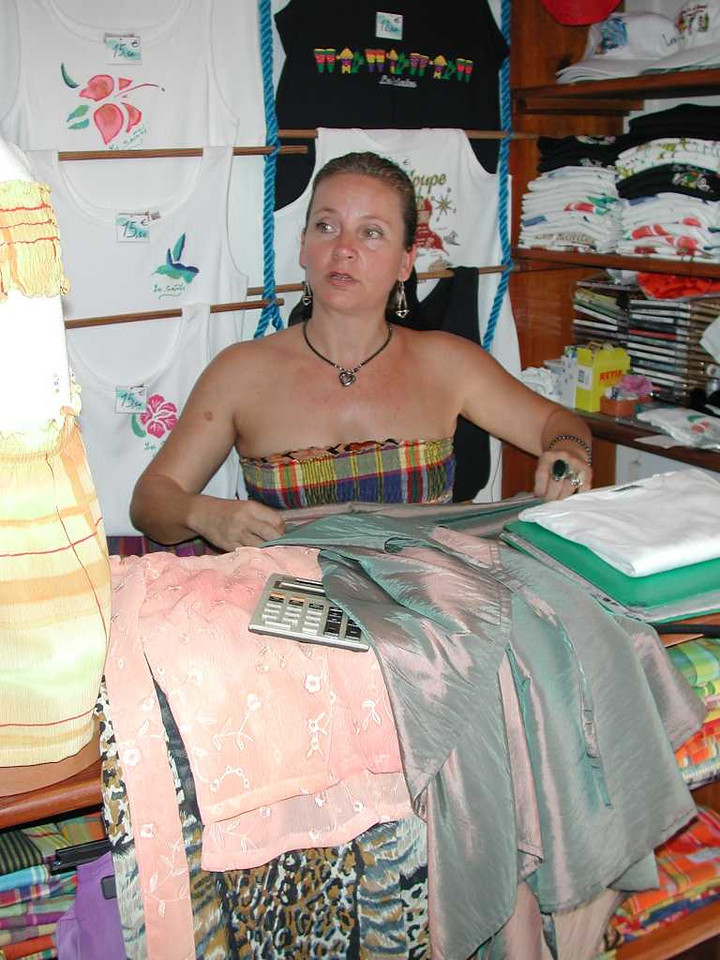"""This seamstress sells her work in Le Bourg in her shop called """"Les Joues Bleus."""""""