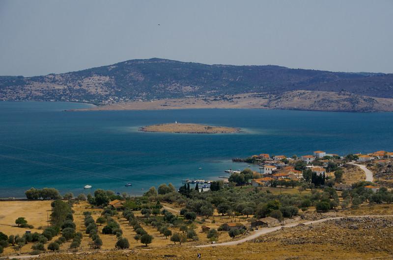 View to Apothika, Bay of Kalloni in the background, Lesvos, Greece