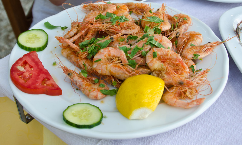 Fried shrimps in Petra, Lesvos