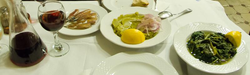 Sardeles pastes, fava and horta in Mytilini