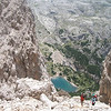 Short but steep decent to the Fanes Lake(2182m):Dolomite