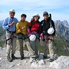 At the summit of Col Ombert(2670m) with mountain guide Walter in north Italy