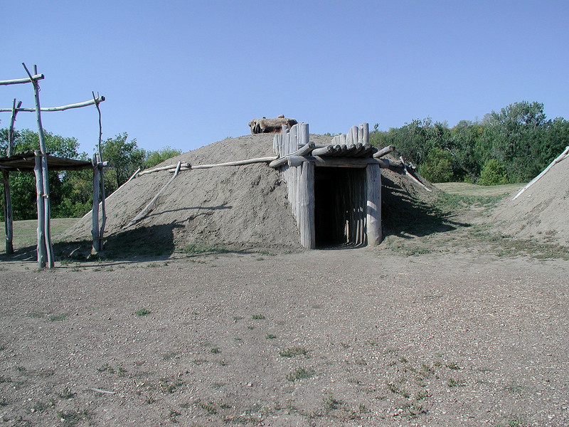 One of the reconstructed mound dwellings at On-a-Slant village.