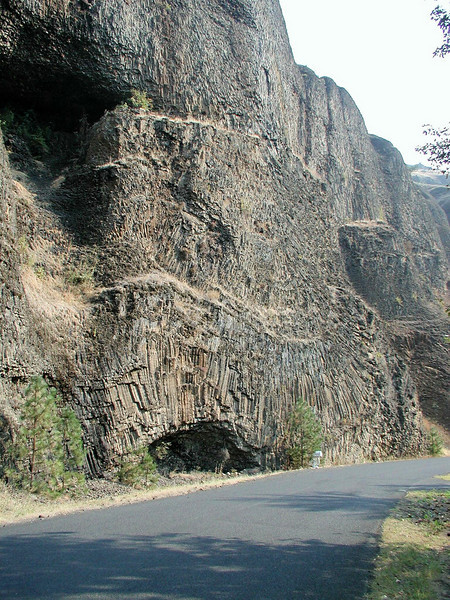 Fabulous columnar basalt outcrop near the start of the Magruder Corridor.  A short distance ahead the road gets rough and stays rough for a 100 miles.