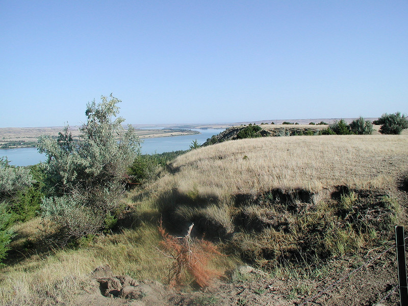 The Missouri River near Chamberlain, SD.  Flat country except very close to the river.