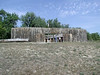 Reconstructed Fort Mandan.  L&C's first winter was spent here in the midst of a major Native American trading center whose transient population made it the second most populous metropolitan area in the North America, second only to New York City.