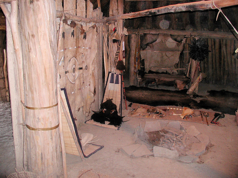 The interior of one of the reconstructed mound dwellings, On-a-Slant Village